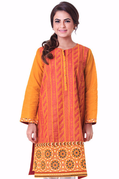 Yellow Screen Print and Embroidered Shirt GLW-14-49