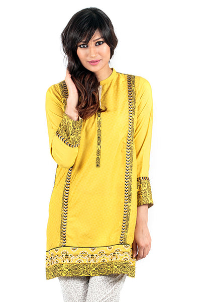 Screen Print Yellow Khaddar Kurti - GLW-15-018