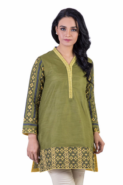 Green Printed Cambric Shirt GLW-15-017