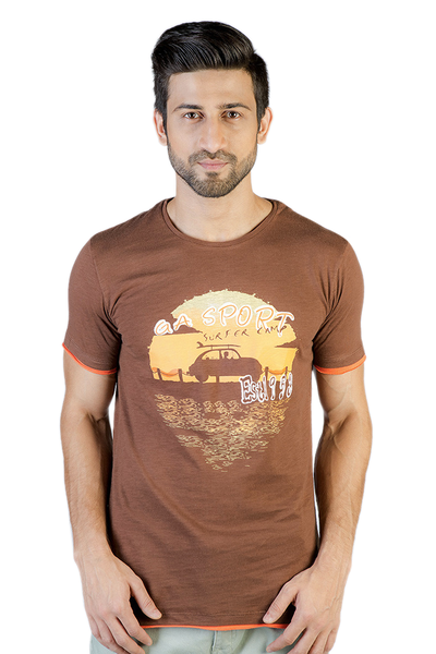 Brown Graphic T-Shirt - JGP-D129