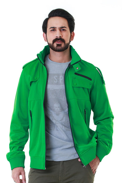 Green Mock Neck Reversible Jacket - JKT-MNZ-D26-2