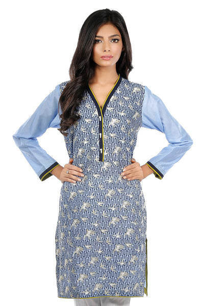 Ink Blue Cambric Embroidered Shirt GLS-16-014