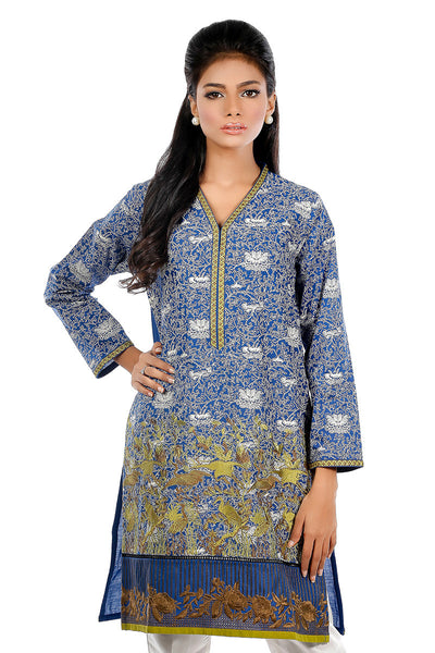 Blue Cambric Embroidered Shirt GLS-16-013