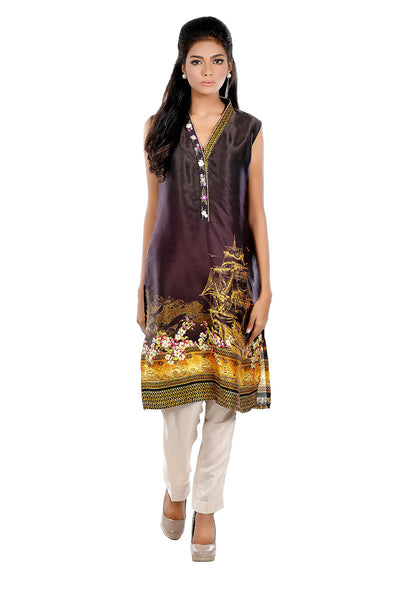 Black Digital Embroidered Shirt GLAMOUR-15-129