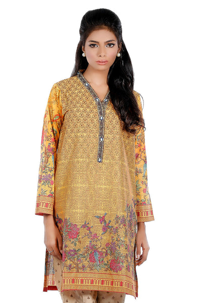 Mustard Digital Embroidered Shirt GLS-16-038 (DP)