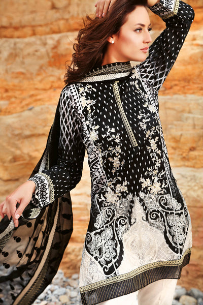 Black 3 Pc Premium Embroidered Chiffon Dress PM-168