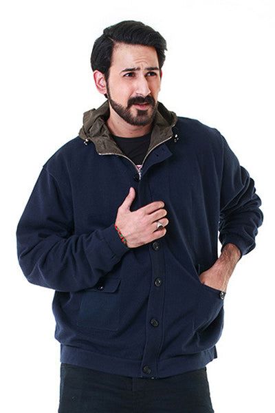 Blue Mock Neck Reversible Jacket - JKT-MNB-D07