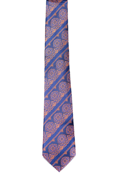 Navy Blue & Orange Patterned Tie - MP-203