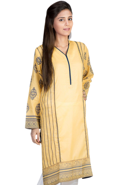 Yellow Cambric Embroidered & Block Print Shirt GLS-14-612