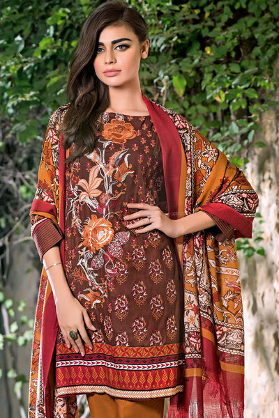 Brown Embroidered Pashmina Woolen P-62