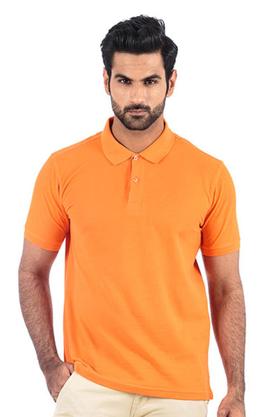 Orange Double Tuck Pique Polo - PKP-195