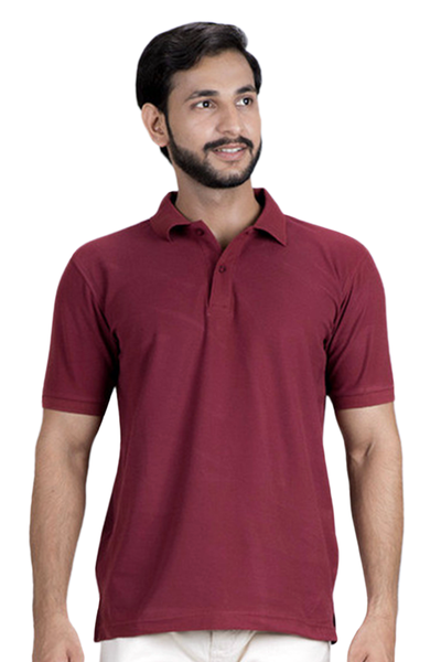 Double Tuck Pique Signature Polo Shirt - Maroon - PKP-240