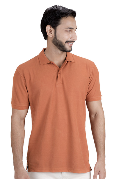 Double Tuck Pique Signature Polo Shirt - Rust - PKP-244