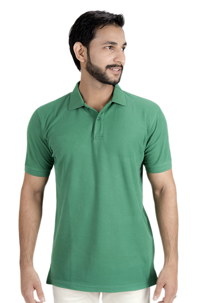 Double Tuck Pique Signature Polo Shirt - Mid Green - PKP-249