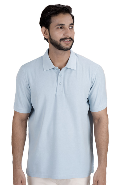 Double Tuck Pique Signature Polo Shirt - Pale Blue - PKP-266