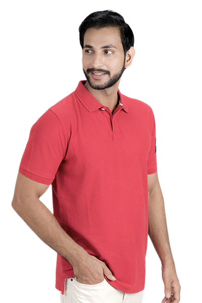 Double Tuck Pique Urban Polo Shirt - Red - PKP-269