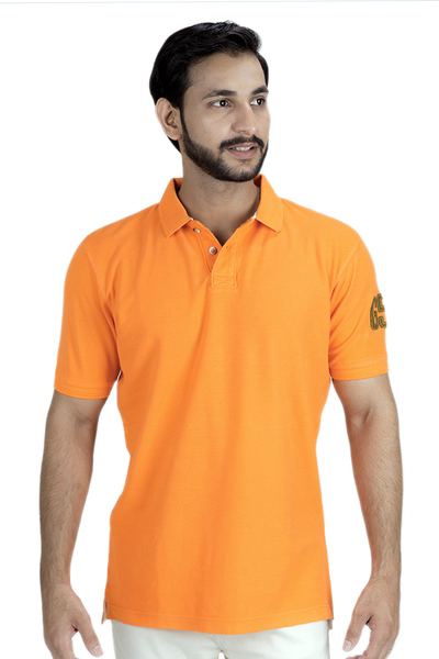 Double Tuck Pique Urban Polo Shirt - Orange - PKP-271