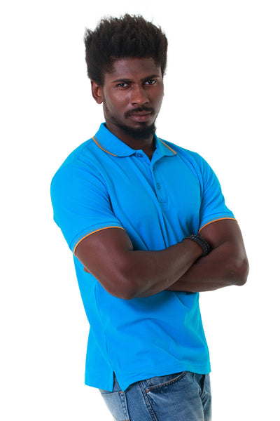Double Tuck Pique Sport Polo Shirt - Turquoise - PKP-275