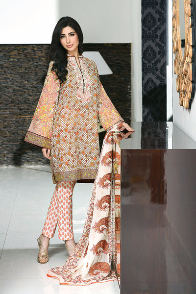 Orange Premium Embroidered Chiffon PM-101