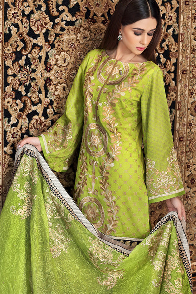 Parrot Green Premium Embroidered Chiffon PM-178