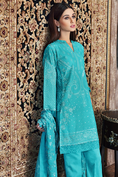 Turquoise Premium Embroidered Chiffon PM-184