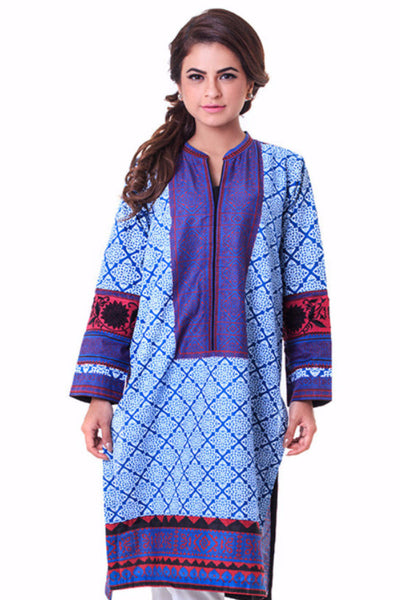 Blue Printed Cambric Shirt SCN-21