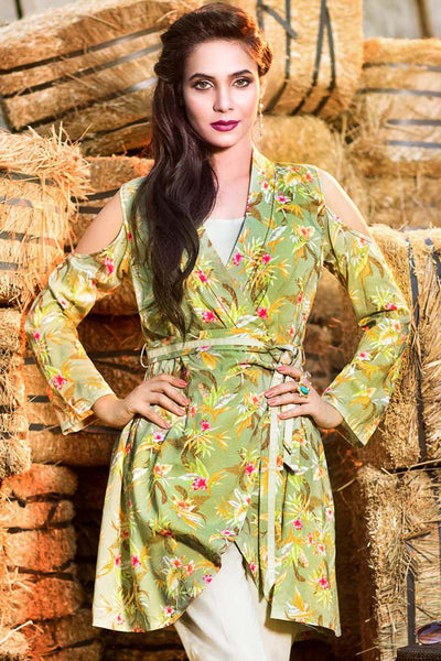 Green Digital Print Linen Single Shirt SDV-10 A