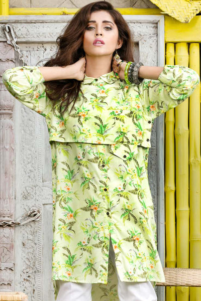 Green Digital Print Linen Single Shirt SDV-10 B