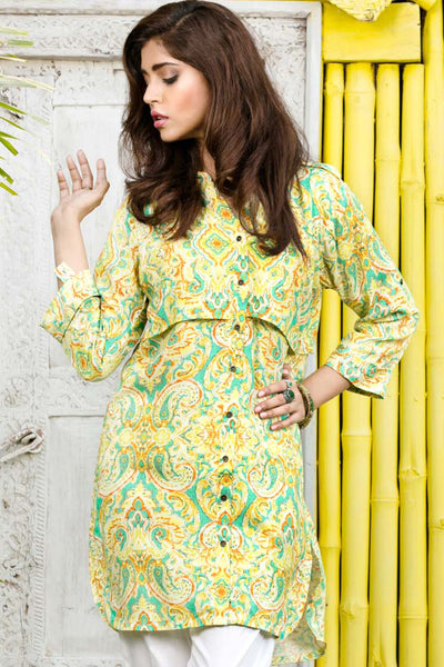 Green Digital Print Linen Single Shirt SDV-09 B
