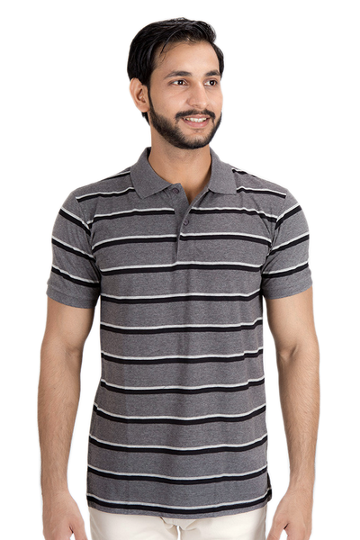 Yarn Dyed Polo Shirt - Charcoal, Grey, Crème - SJP-YD-D-34-1