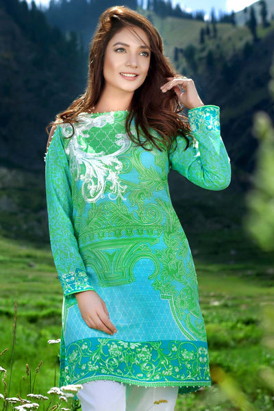 Green Single Embroidered Khaddar SK-07 A