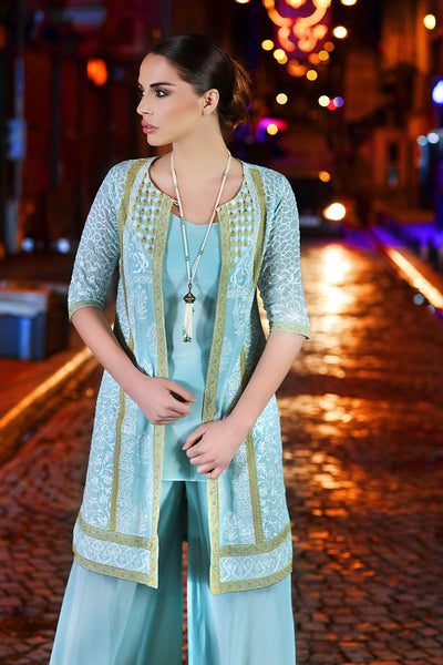Turquoise Embroidered Single Shirt SL-276