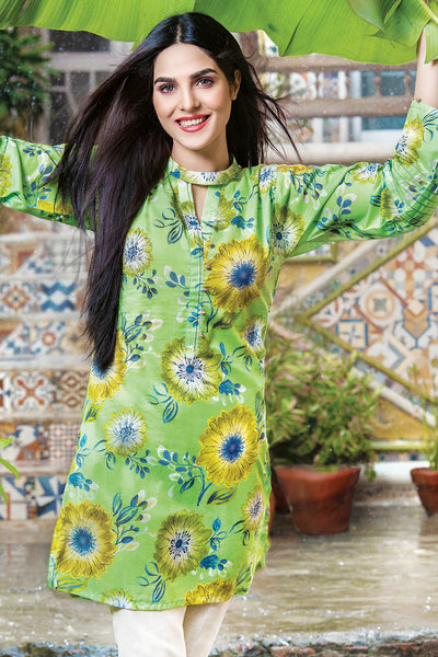 Green 1 Pc Printed Lawn Single SL-329 A