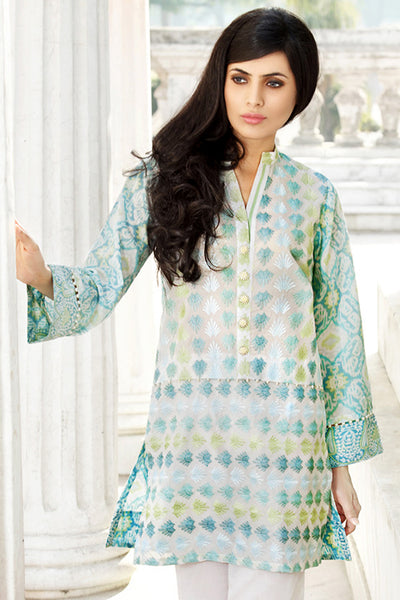 Green 1 Pc Embroidered Lawn Single SL-336