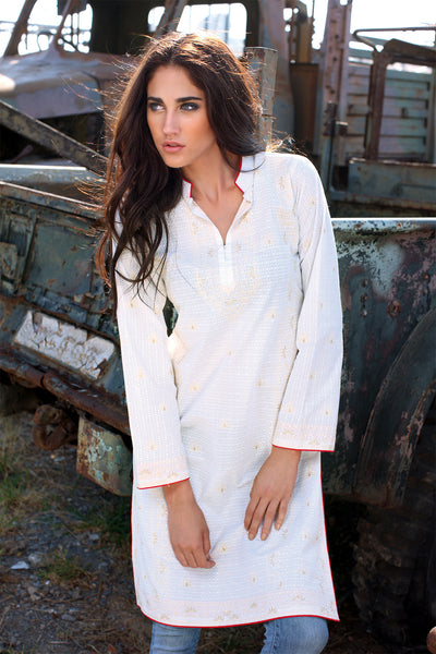 White Embroidered Shirt SL-67