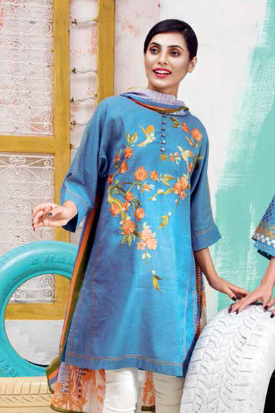 Blue 2 Pc Embroidered Denim  TL-98