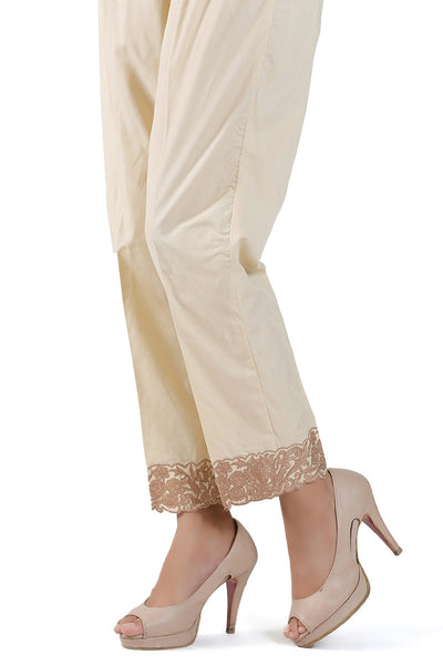 Beige Embroidered Trouser - TR-15-032