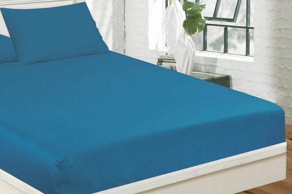 Turquoise Plain Fitted Sheet