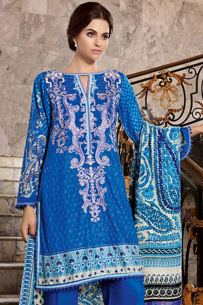 Blue Embroidered Silk Velvet VL-41