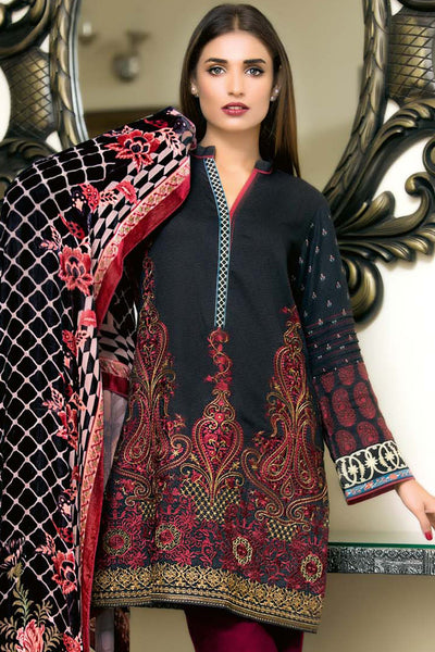 Black Embroidered Silk Velvet VL-48