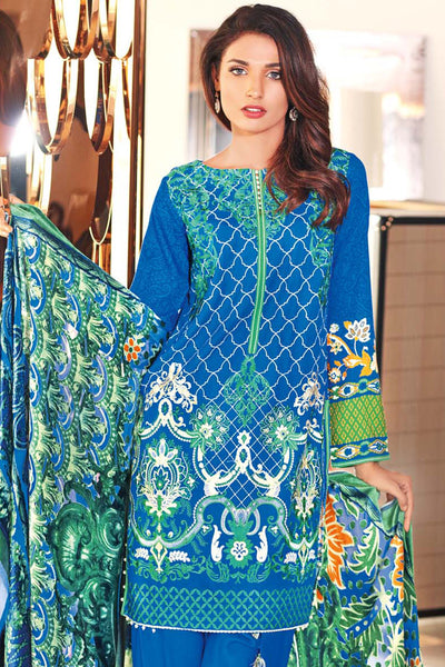 Blue Embroidered Silk Velvet VL-52
