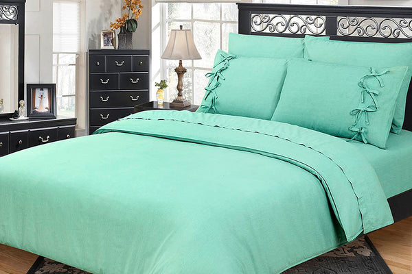 Mint Garment Washed 6 Pc Bedding Set