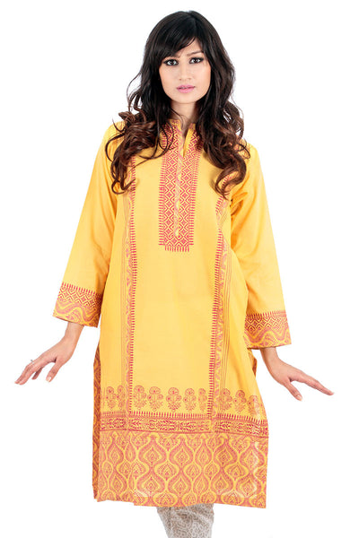 Yellow Lawn Screen Print Kurti - GLS-14-603