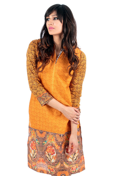 Orange Lawn Digital Print Kurti - GLS-15-016