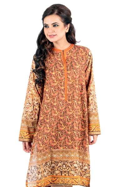 Rust Cambric Digital Print and Embroidered Kurti - GLS-15-034