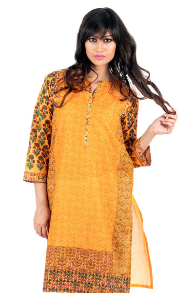 Orange Lawn Digital Print and Embroidered Shirt GLS-15-055