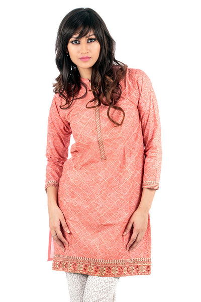 Peach Embroidered and Screen Print Shirt GLS-15-084