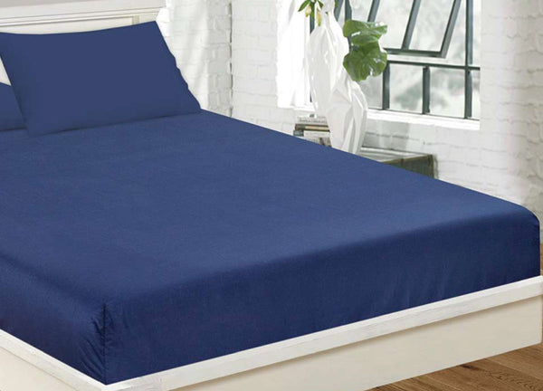 Navy Plain Fitted Sheet