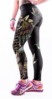 Yoga High-Waist Skull & Birds Leggings