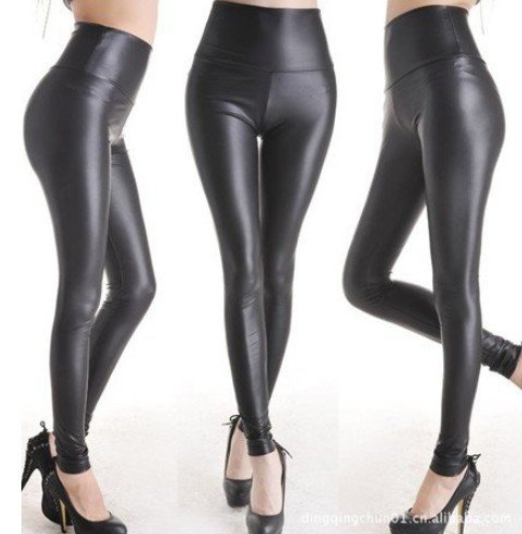 Women's Shiny Metallic High Waist Black Stretchy Leather Leggings